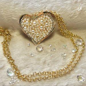 Vintage Seed Pearl Heart Pendant Brooch